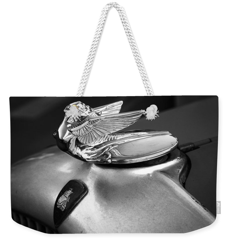 American Classic Cars Weekender Tote Bag featuring the photograph Lady Of The Hood by Digital Kulprits