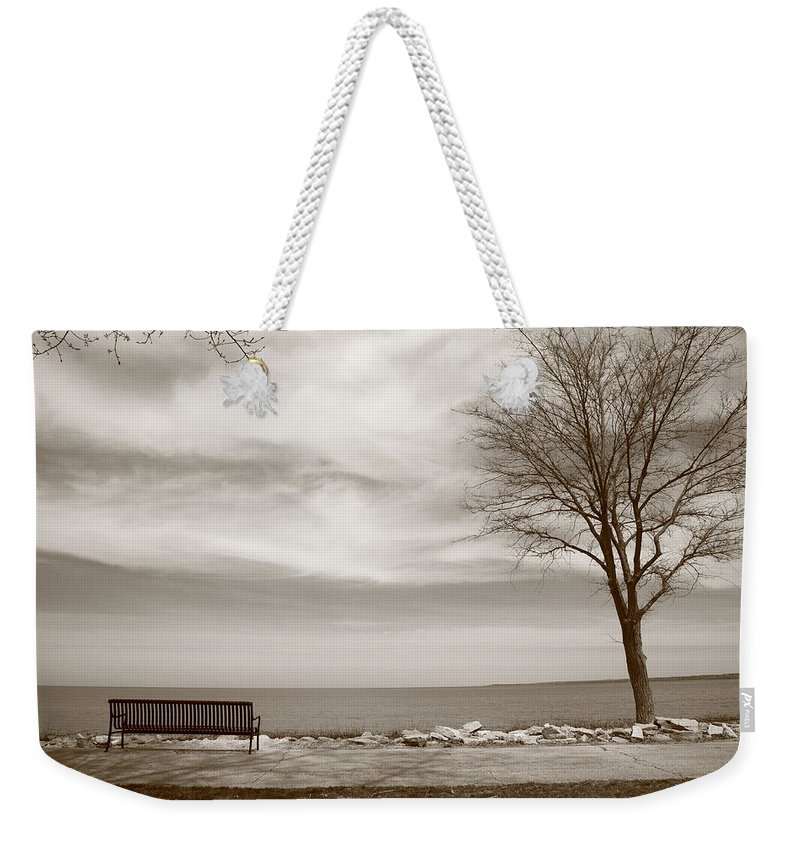 Art Weekender Tote Bag featuring the photograph Lake And Park Bench by Frank Romeo