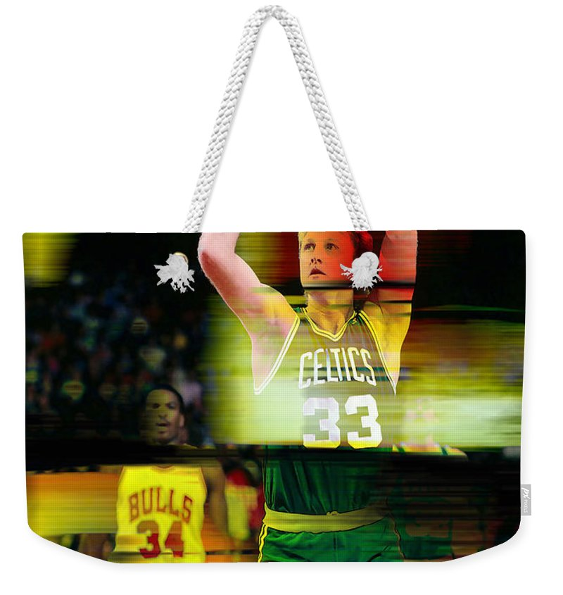 Bird Paintings Weekender Tote Bag featuring the mixed media Larry Bird by Marvin Blaine