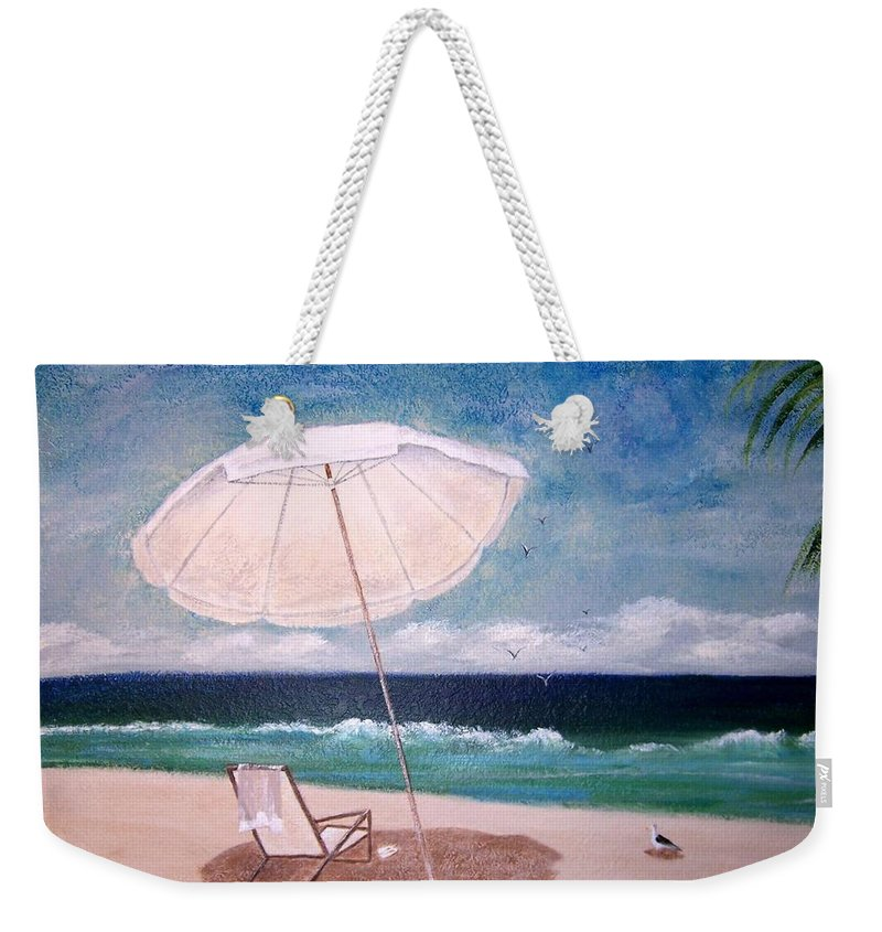 Beach Weekender Tote Bag featuring the painting Lazy Day by Jamie Frier