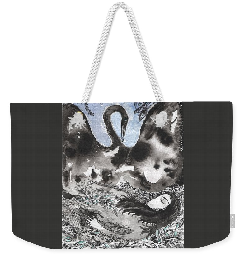 Leda Weekender Tote Bag featuring the painting Leda And The Swan by Sue Wright