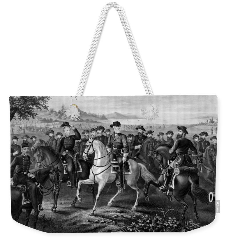 Robert E Lee Weekender Tote Bag featuring the painting Lee And His Generals by War Is Hell Store