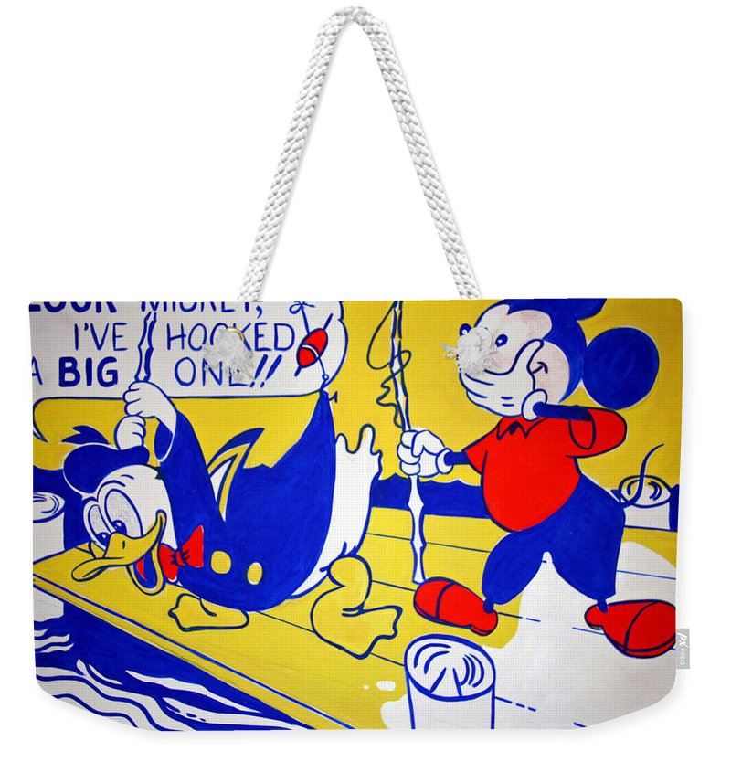Donald Weekender Tote Bag featuring the photograph Lichtenstein's Look Mickey by Cora Wandel