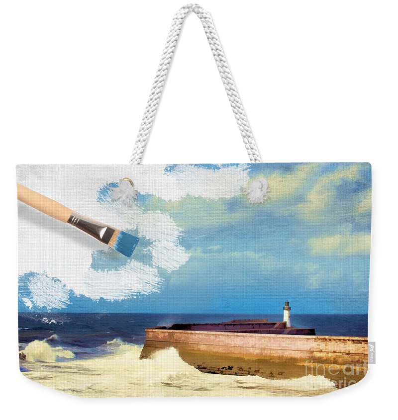 Lighthouse Weekender Tote Bag featuring the photograph Lighthouse At Whitehaven by Amanda Elwell