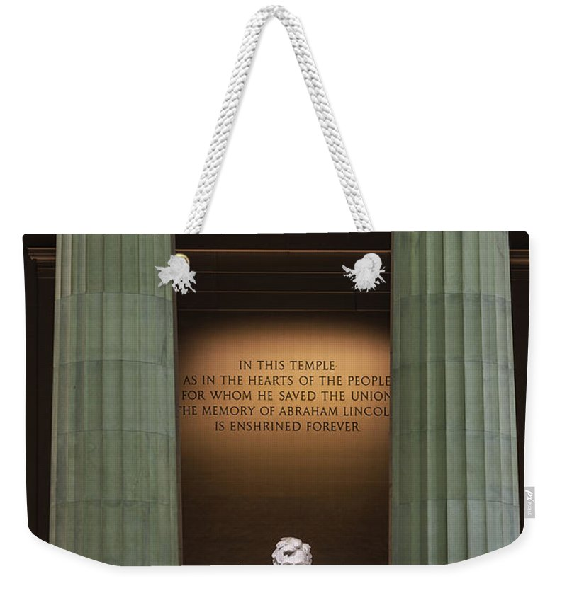 Abe Lincoln Weekender Tote Bag featuring the photograph Lincoln Memorial by John Greim