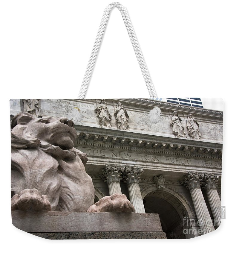 Architecture Weekender Tote Bag featuring the photograph Lion New York Public Library by Amy Cicconi