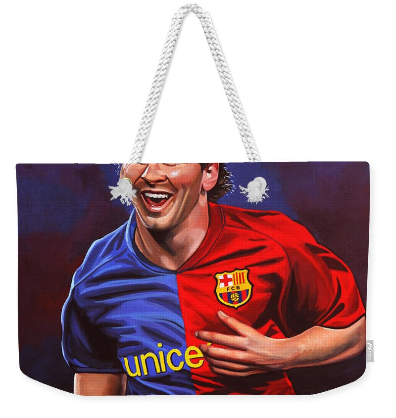 Lionel Messi Weekender Tote Bag featuring the painting Lionel Messi by Paul Meijering