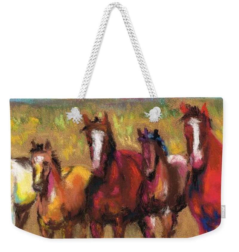 Horses Weekender Tote Bag featuring the painting Mares And Foals by Frances Marino