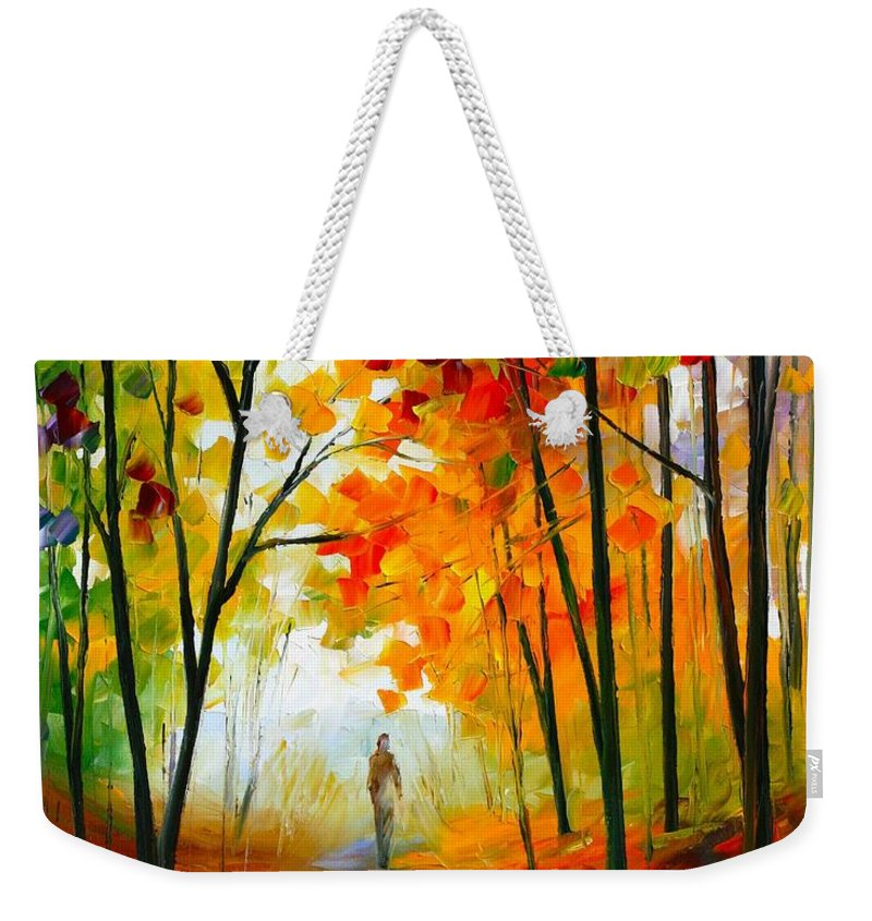 Afremov Weekender Tote Bag featuring the painting Melody Of Autumn by Leonid Afremov
