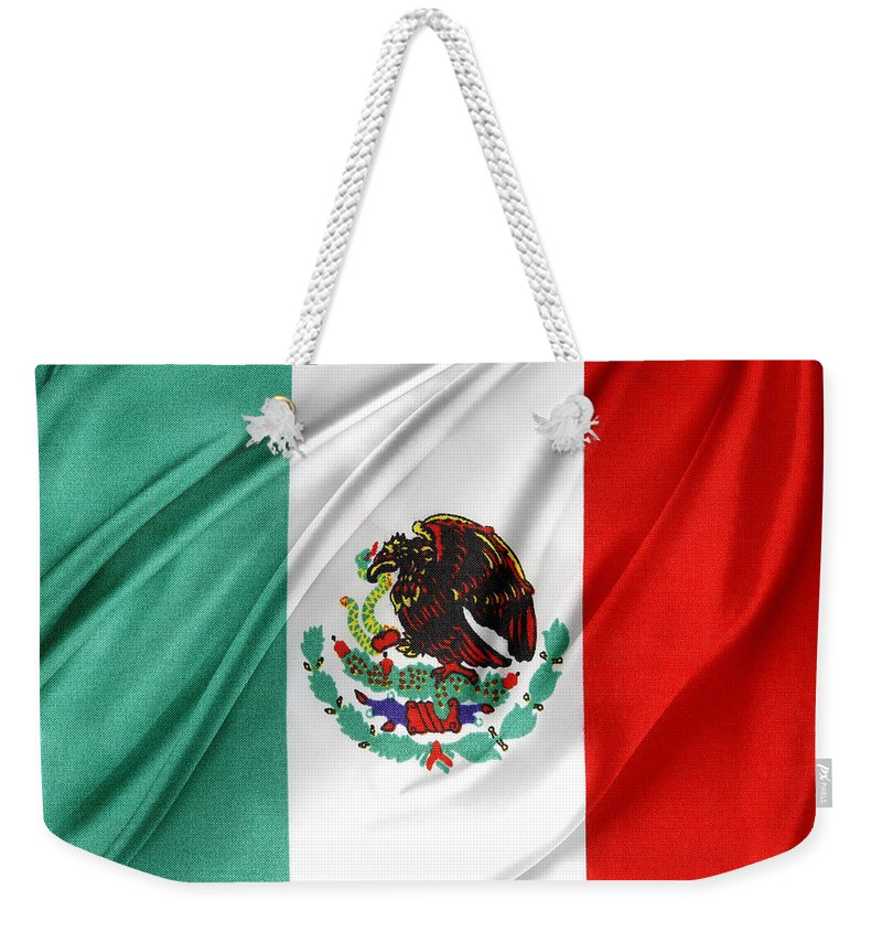 Color Weekender Tote Bag featuring the photograph Mexican Flag by Les Cunliffe