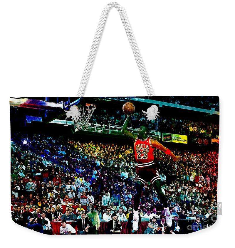 Michael Jordan Weekender Tote Bag featuring the mixed media Michael Jordon by Marvin Blaine