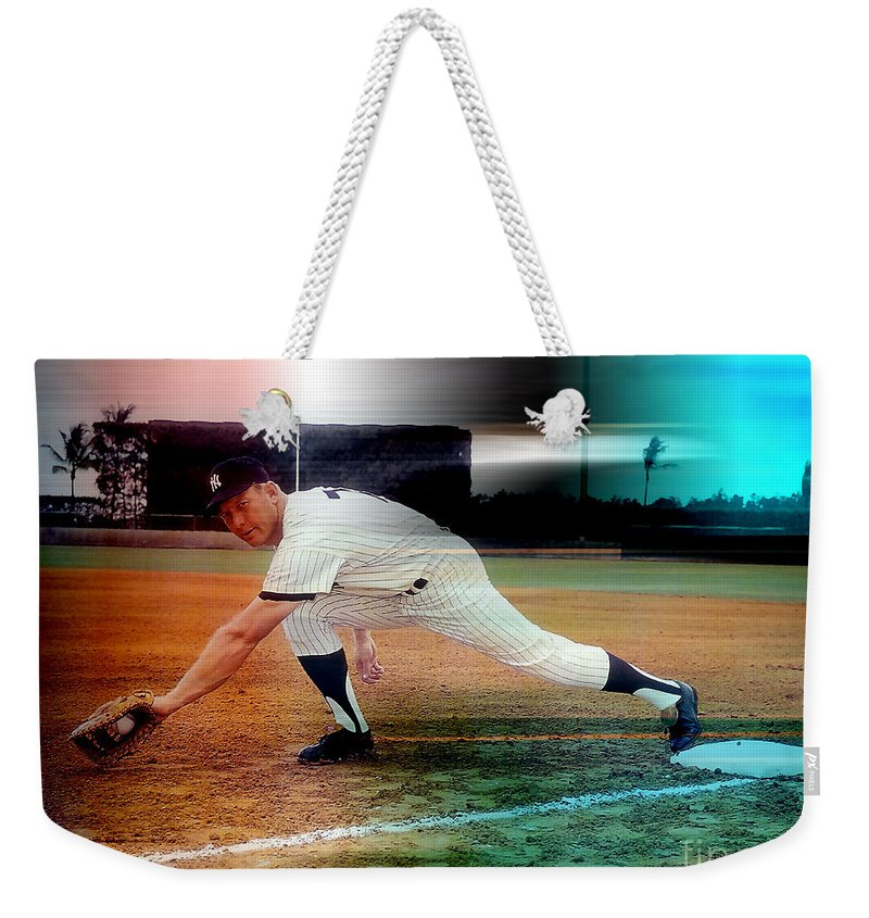 Mickey Photographs Weekender Tote Bag featuring the mixed media Mickey Mantle by Marvin Blaine