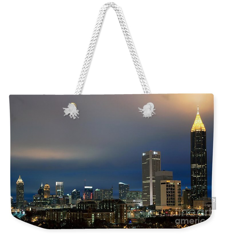 Bank Of America Weekender Tote Bag featuring the photograph Midtown Atlanta Skyline At Dusk by Bill Cobb