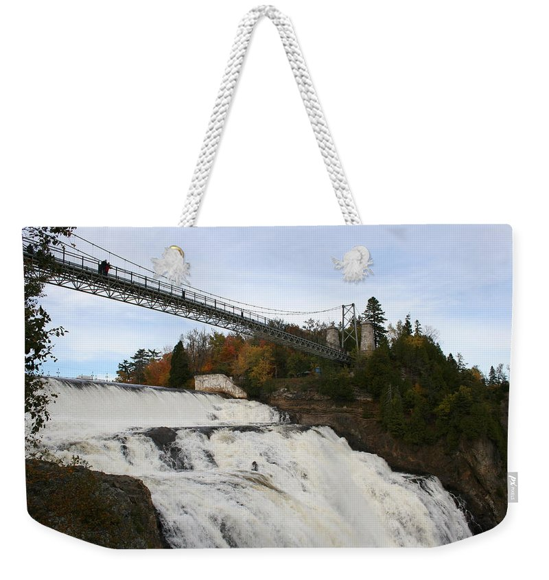 Waterfall Weekender Tote Bag featuring the photograph Montmorency Waterfall Canada by Christiane Schulze Art And Photography