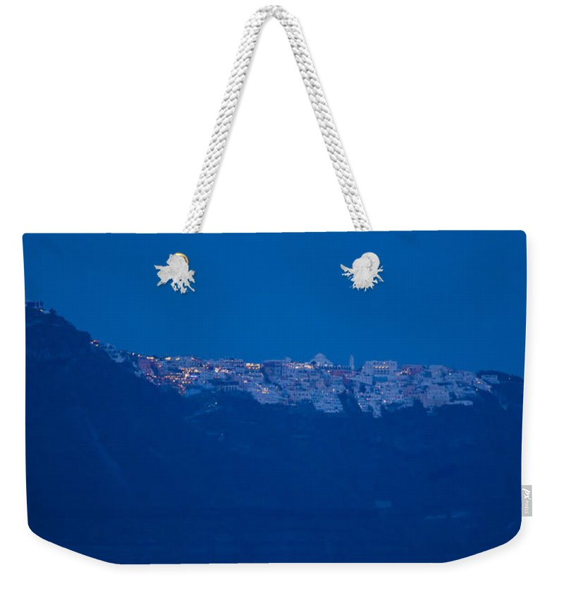 Full Moon Weekender Tote Bag featuring the photograph Moon Over Santorini by Brian Jannsen