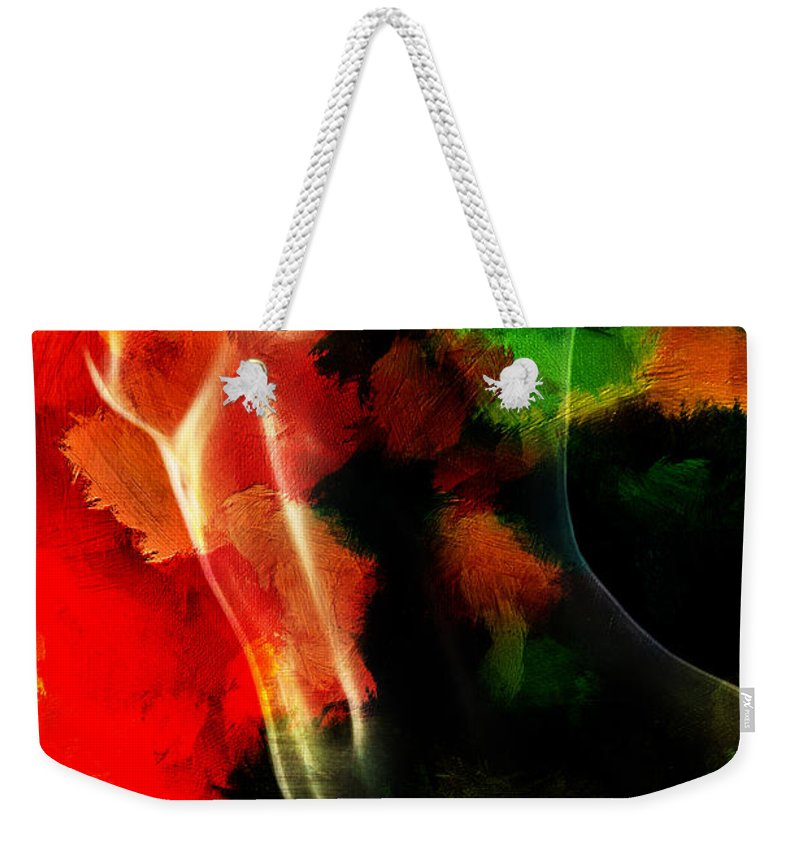 Tree Body Woman Female Girl Expressionism Color Colorful Abstract Nude Naked Nature Mother Painting Erotic Weekender Tote Bag featuring the painting Mother Nature by Steve K