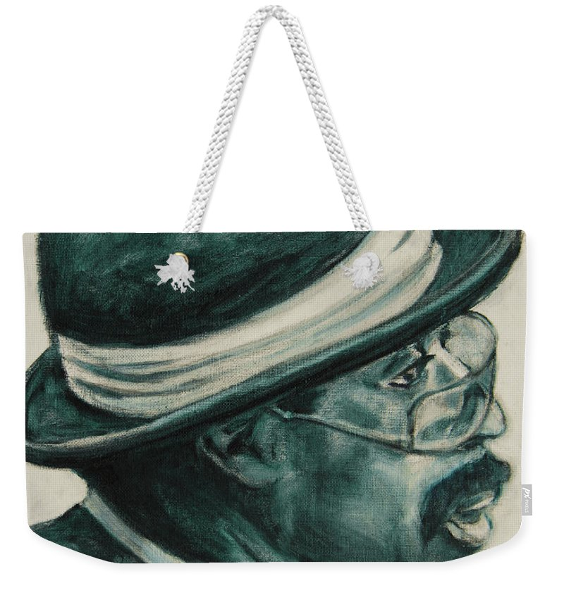 Black Weekender Tote Bag featuring the painting Mr Bowler Mustache by Xueling Zou