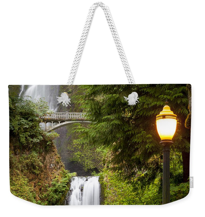 America Weekender Tote Bag featuring the photograph Multnomah Falls by Brian Jannsen