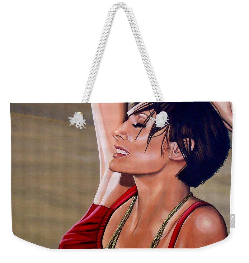 Natalie Imbruglia Weekender Tote Bag featuring the painting Natalie Imbruglia Painting by Paul Meijering
