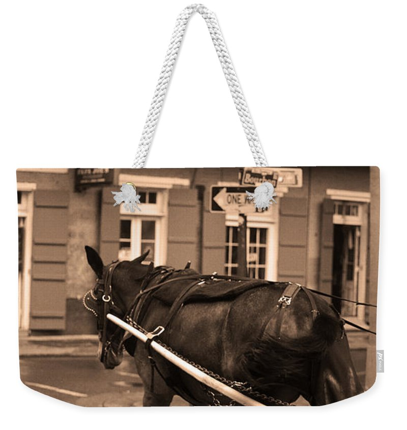 America Weekender Tote Bag featuring the photograph New Orleans - Bourbon Street Horse 3 by Frank Romeo