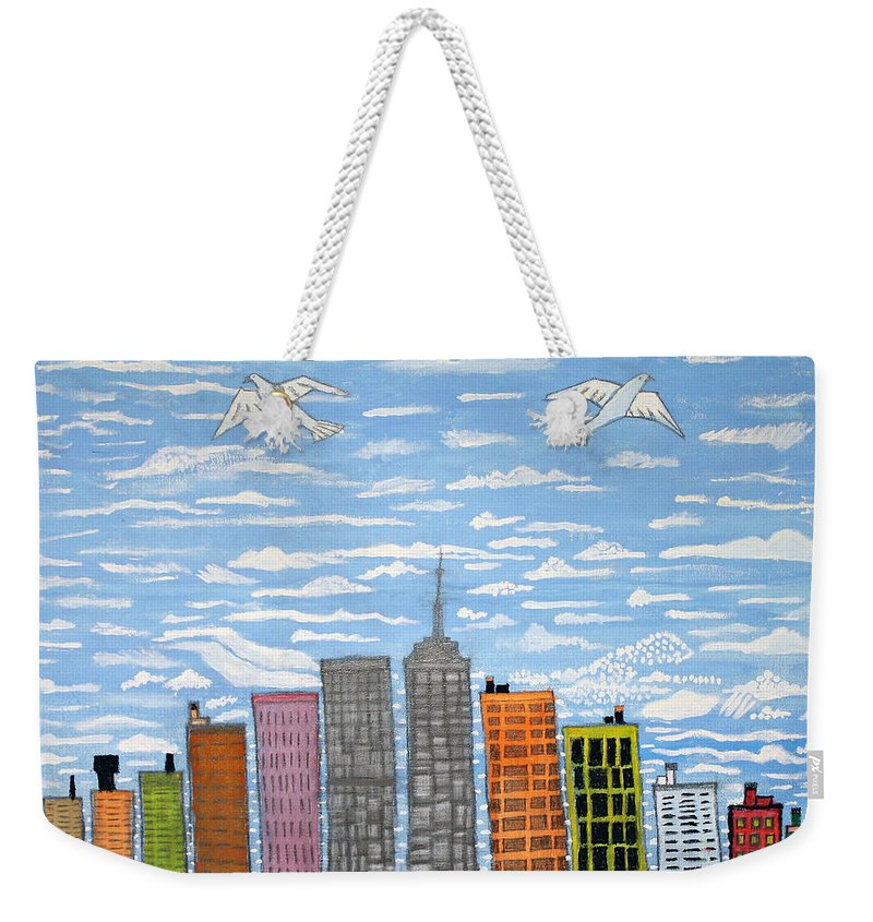 New York City Weekender Tote Bag featuring the painting New York by Luzaldo