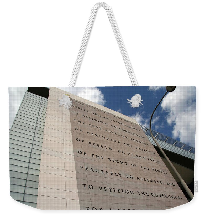 Newseum Weekender Tote Bag featuring the photograph The Newseum by Cora Wandel