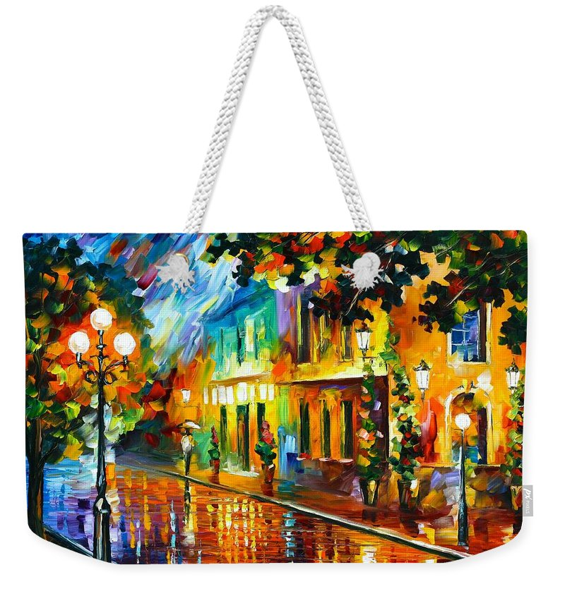Afremov Weekender Tote Bag featuring the painting Night Flowers by Leonid Afremov
