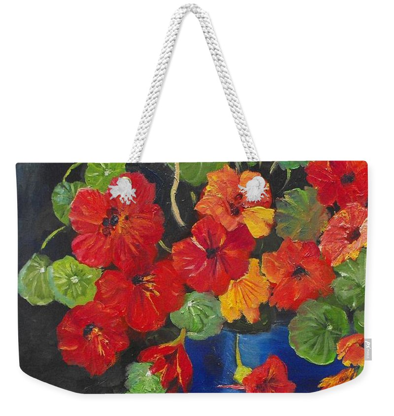Nasturtiums Weekender Tote Bag featuring the painting Night Nasties by Valerie Curtiss