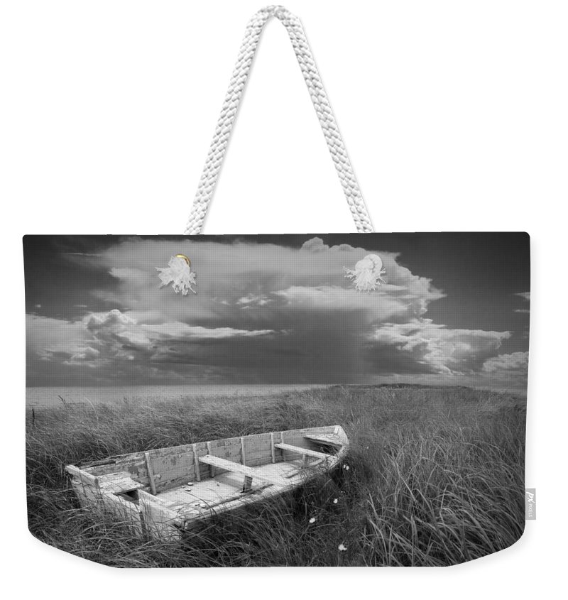 Shipwreck Weekender Tote Bag featuring the photograph Of Land Sea And Sky by Randall Nyhof