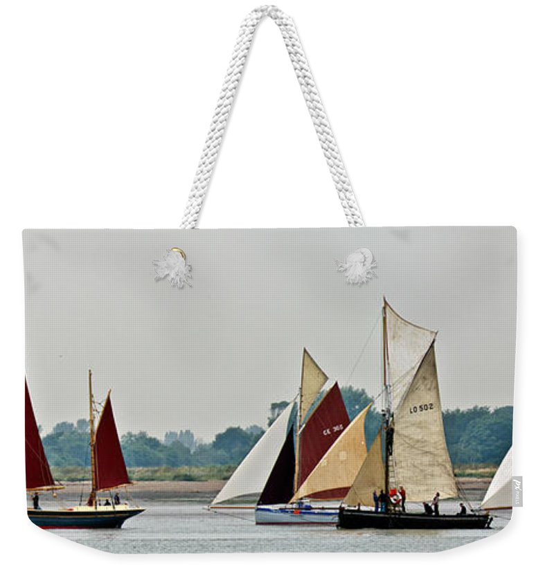 East Coast Old Gaffers Association Weekender Tote Bag featuring the photograph Old Gaffers Panorama by Gary Eason