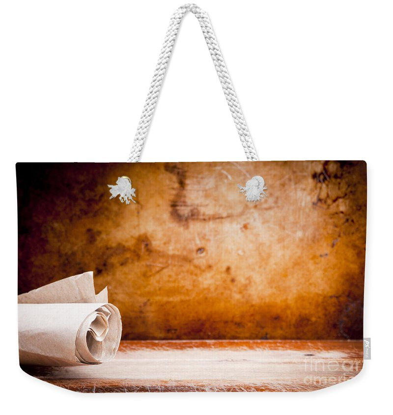 old parchment paper scroll weekender tote bag for sale by tim hester