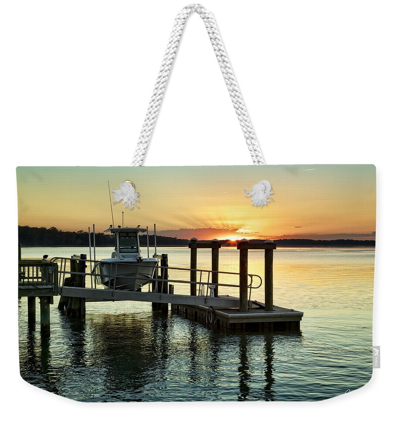 Beaufort County Weekender Tote Bag featuring the photograph On The Waterfront by Phill Doherty