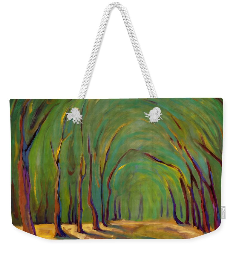 Landscape Weekender Tote Bag featuring the painting Our Secret Place by Konnie Kim