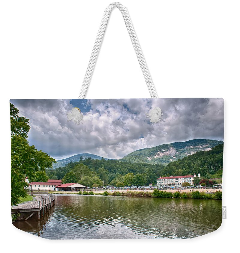 Lure Weekender Tote Bag featuring the photograph Overlooking Chimney Rock And Lake Lure by Alex Grichenko