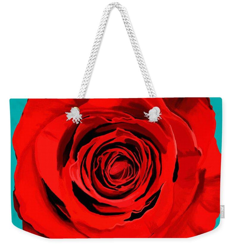 Beautiful Weekender Tote Bag featuring the painting Painting Of Single Rose by Setsiri Silapasuwanchai