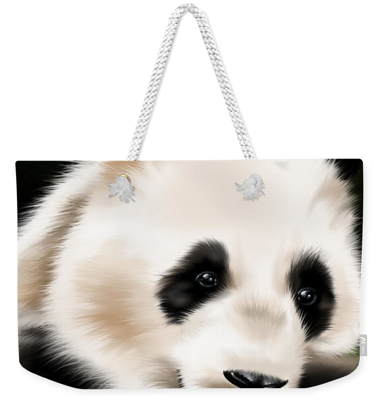 Ipad Weekender Tote Bag featuring the painting Panda by Veronica Minozzi