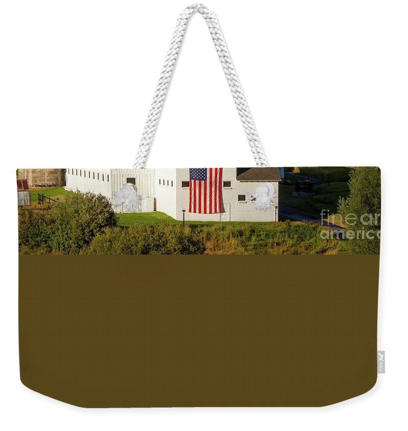 White Weekender Tote Bag featuring the photograph Park City Barn by Brian Jannsen