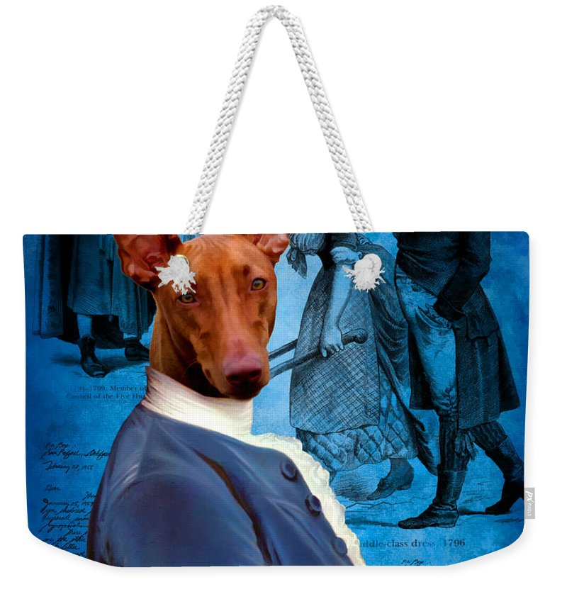 Pharaoh Hound Art Weekender Tote Bag featuring the painting Pharaoh Hound Art Canvas Print by Sandra Sij