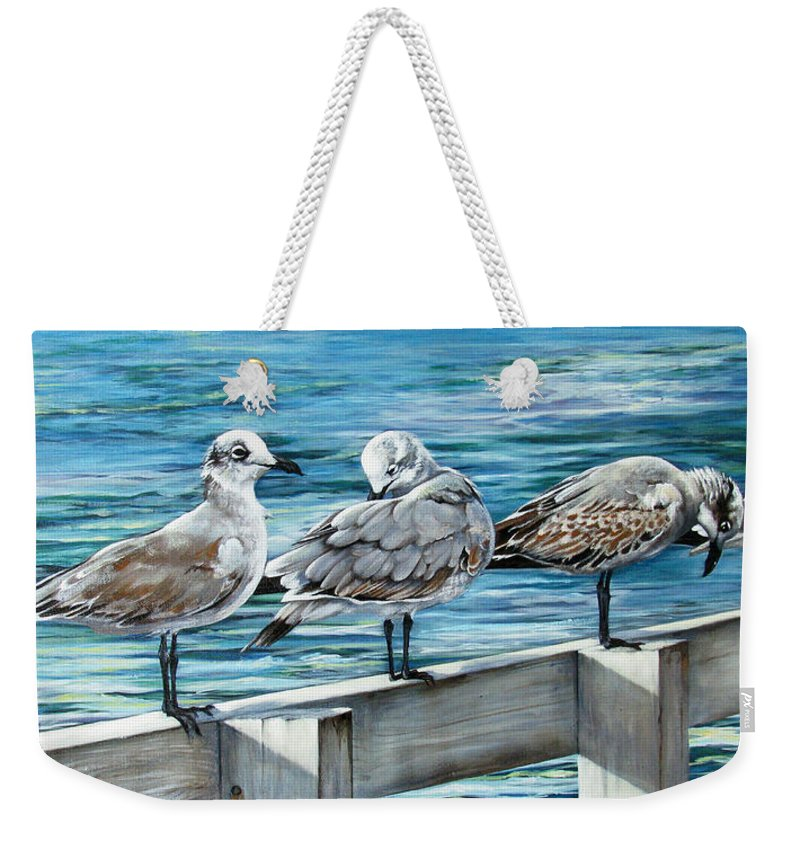 Seagulls Weekender Tote Bag featuring the painting Pier Gulls by Joan Garcia