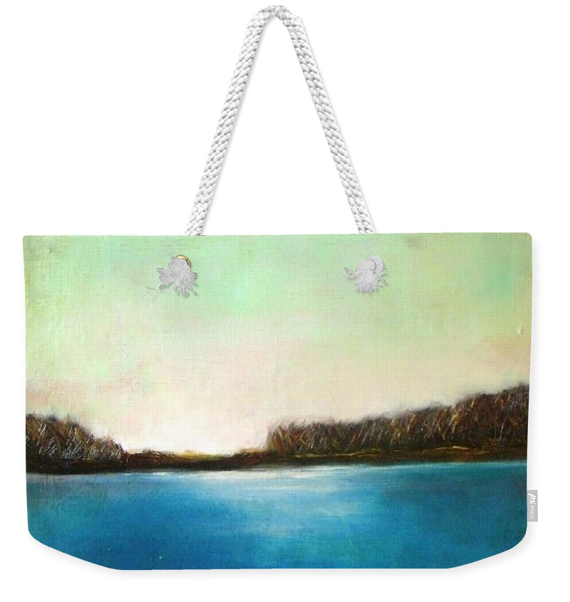 Landscape Weekender Tote Bag featuring the painting Pink Dawn by Vesna Antic
