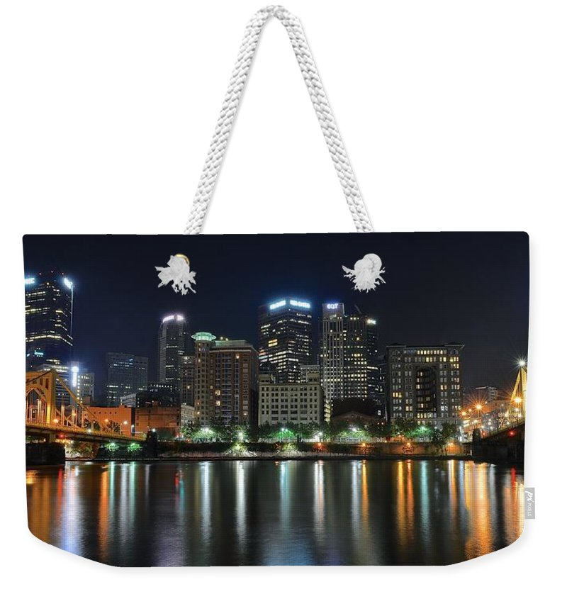 Pittsburgh Weekender Tote Bag featuring the photograph Pittsburgh Panorama by Frozen in Time Fine Art Photography
