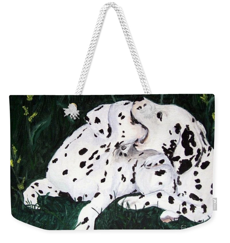 Dogs Weekender Tote Bag featuring the painting Playful Pups by Jacki McGovern