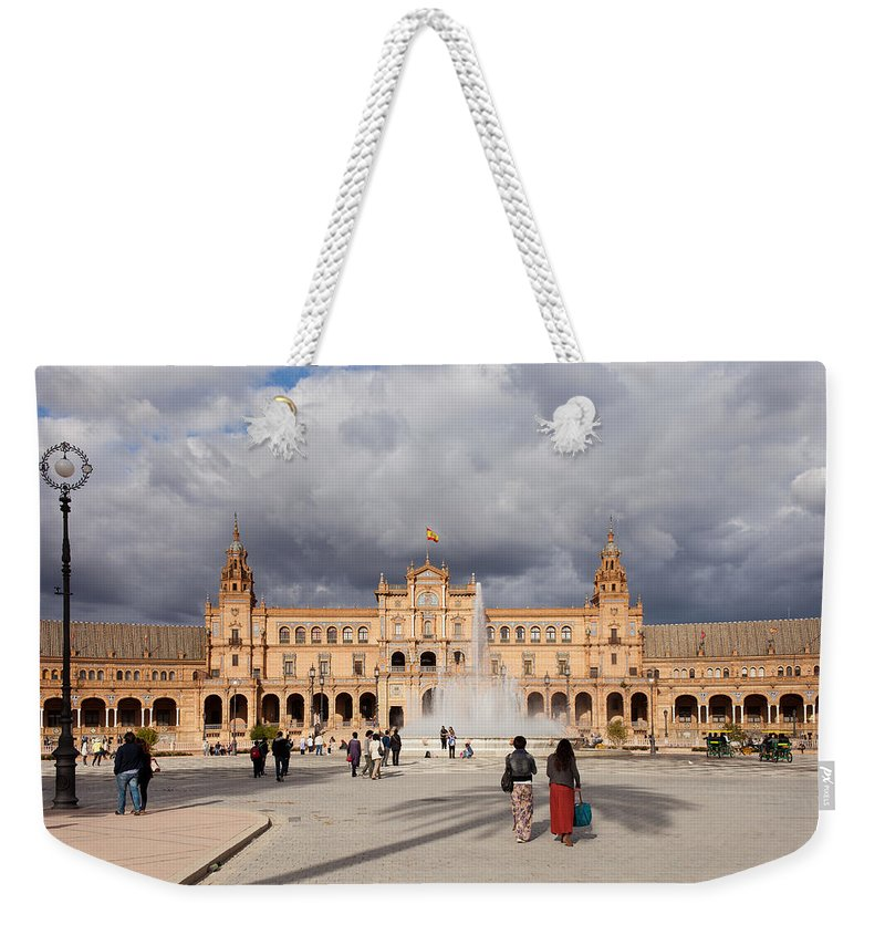 Andalucia Weekender Tote Bag featuring the photograph Plaza De Espana Pavilion In Seville by Artur Bogacki