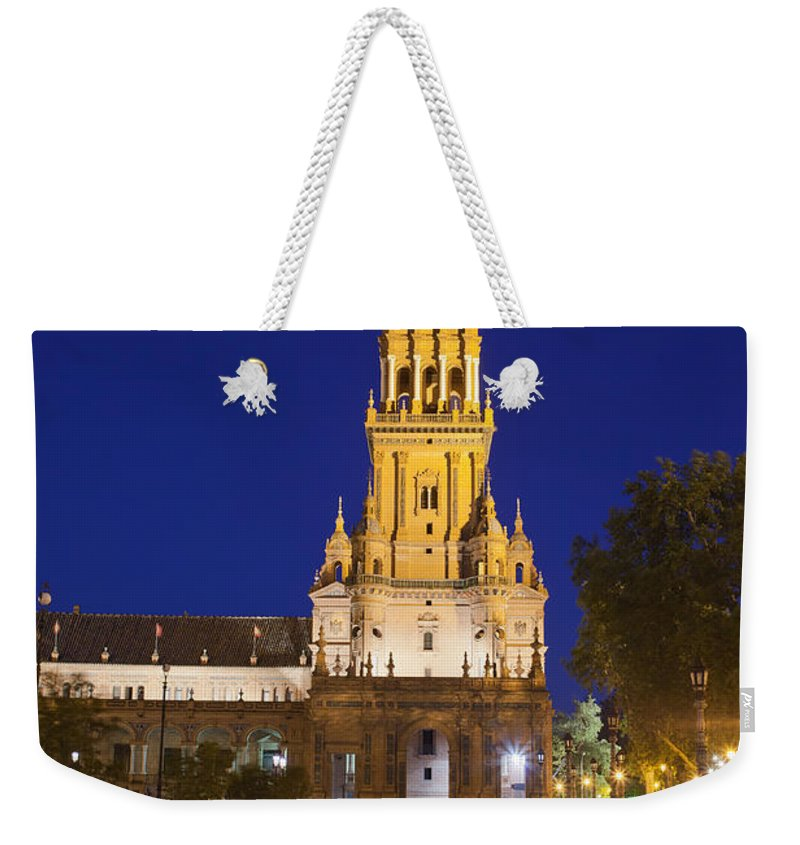 Plaza Weekender Tote Bag featuring the photograph Plaza De Espana Tower In Seville by Artur Bogacki