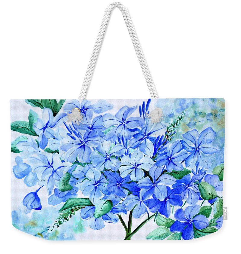 Blue Plumbago Weekender Tote Bag featuring the painting Plumbago by Karin Dawn Kelshall- Best
