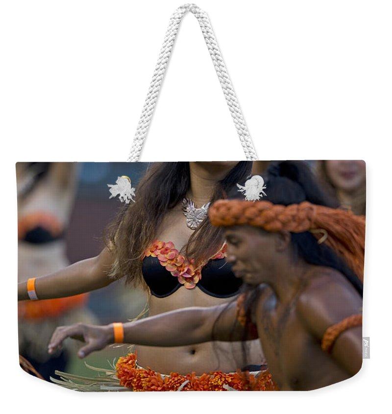 Polynesian Weekender Tote Bag featuring the photograph Polynesian Dancers by Jason O Watson