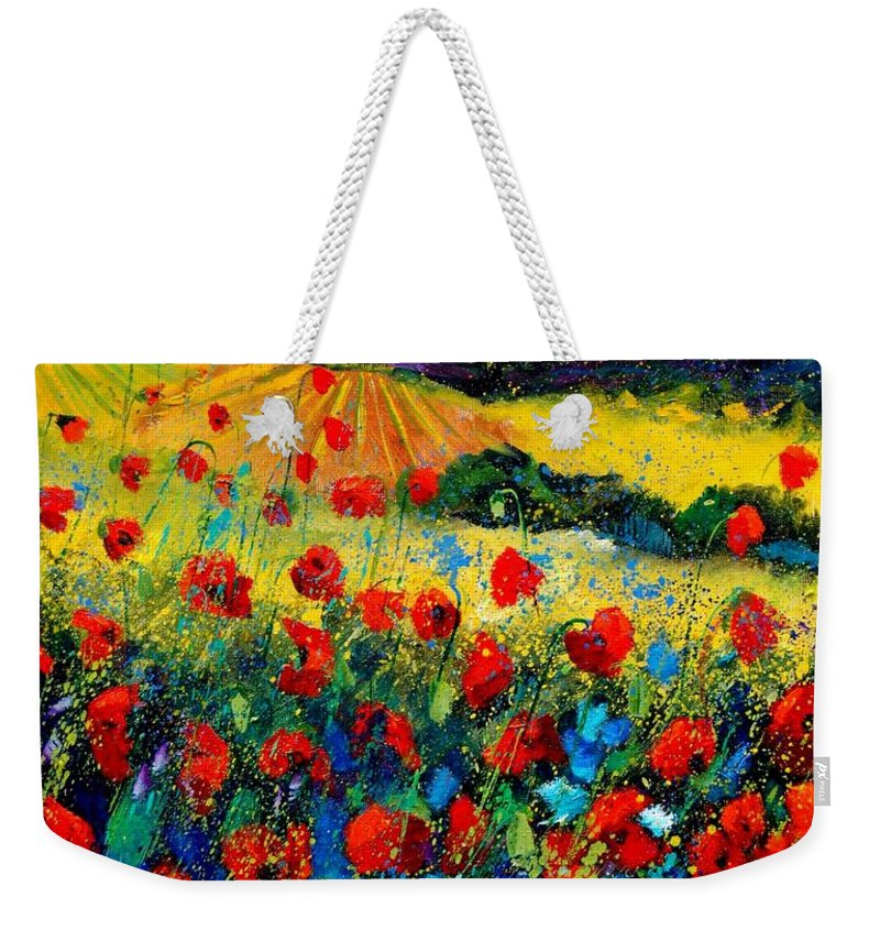 Flowersn Landscape Weekender Tote Bag featuring the painting Poppies in Tuscany by Pol Ledent
