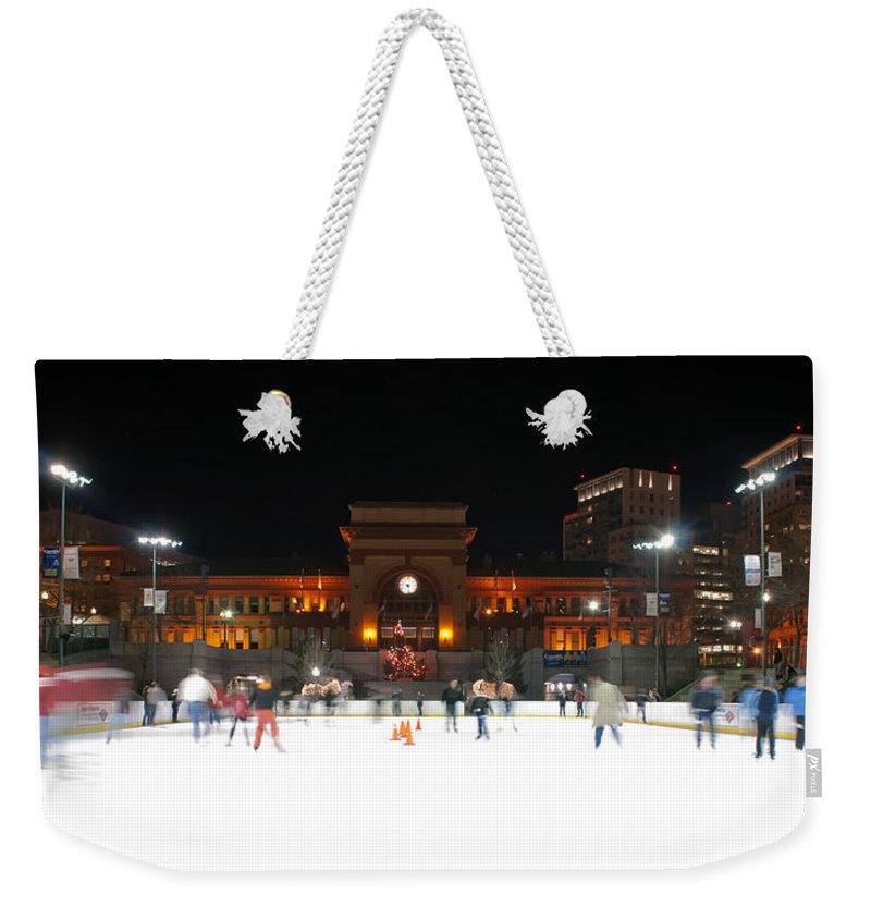 People Weekender Tote Bag featuring the photograph Providence On A Cold December Evening by Alex Grichenko
