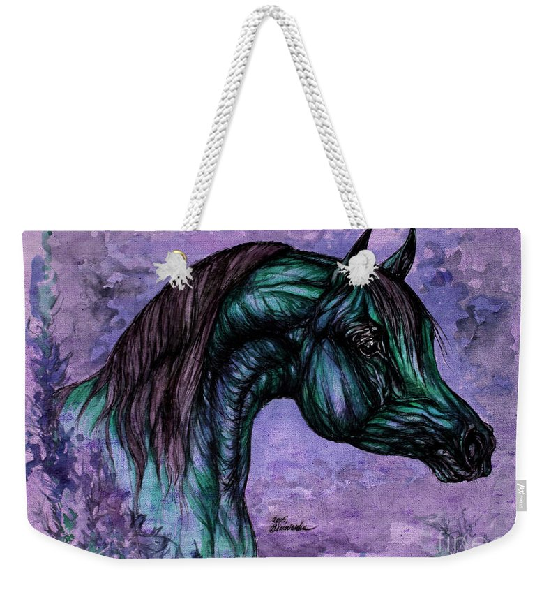 Horse Weekender Tote Bag featuring the painting Psychedelic Blue by Angel Ciesniarska
