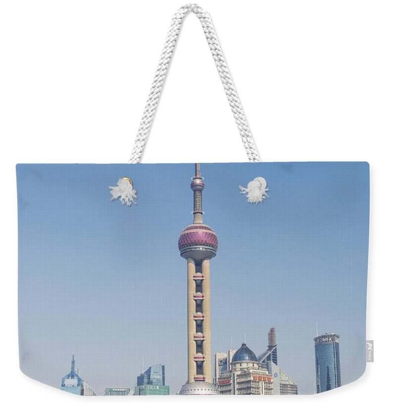 Architecture Weekender Tote Bag featuring the photograph Pudong Skyline In Shanghai China by Jacek Malipan